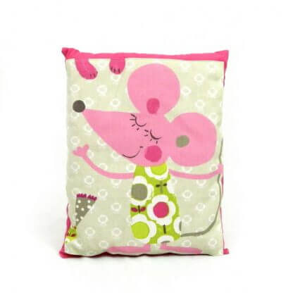 Children's Pink Mouse Cushion with pink backing