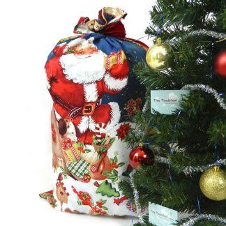 Beautiful santa Christmas sack with father Christmas setting