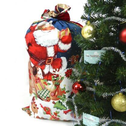 Beautiful santa Christmas sack with father Christmas setting