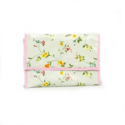 Dainty floral travel changing mat with pink edging