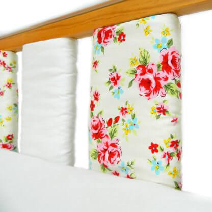 Floral cot bar bumpers set in pink
