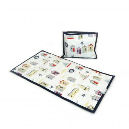 Seaside travel changing mat with navy trim