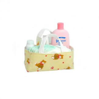Teddy bear fabric storage box in cream
