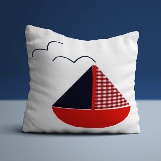 Nautical Sailing boat cushion in red and navy