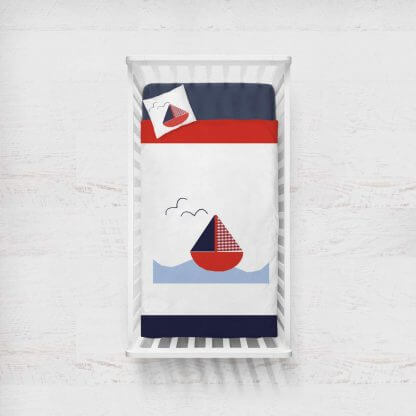 Nautical sailing boat baby quilt in white red and navy