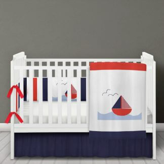 Nautical sailing boat bedding set in red white and navy