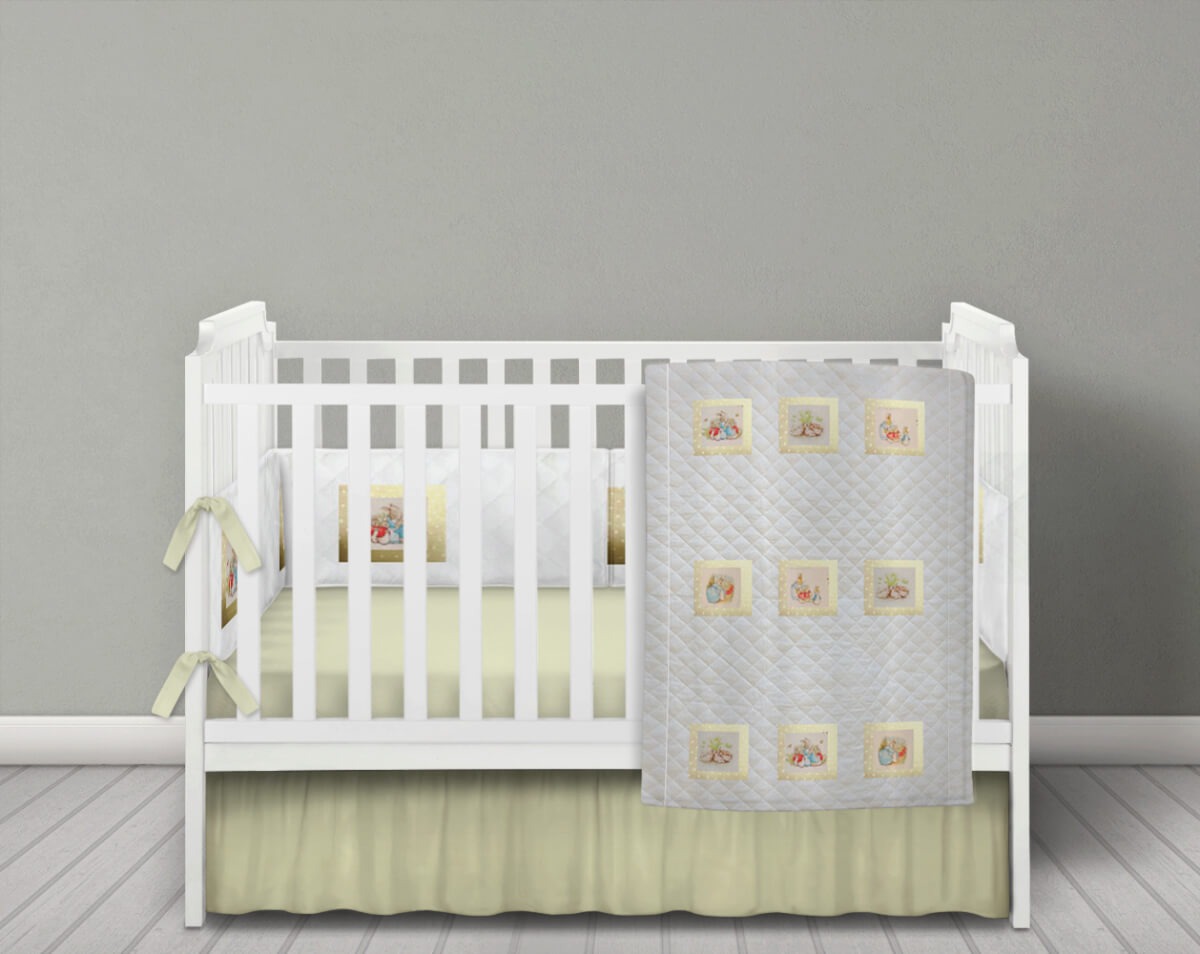 White Quilted Beatrix Potter Baby Bedding Set