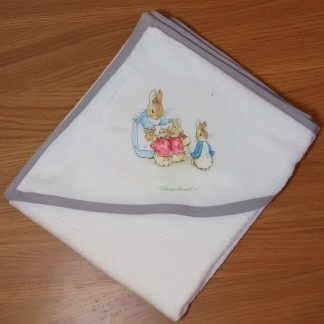 Peter rabbit baby hooded towel in white