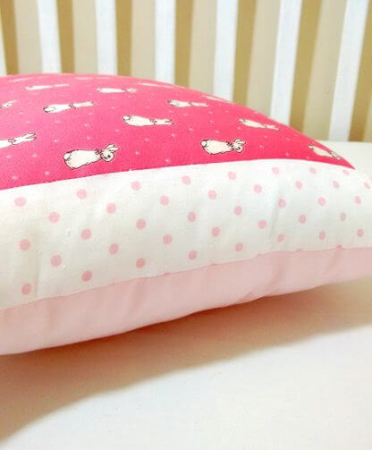 White and pink spotty flopsy bunny rabbit cushion