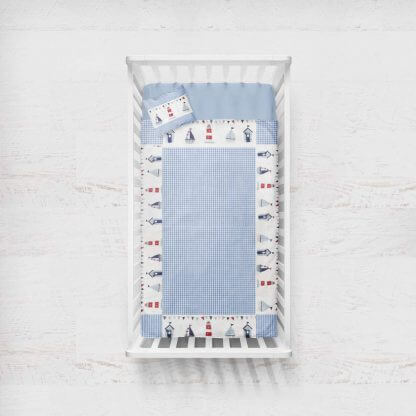 Nautical Seaside baby quilt with blue gingham
