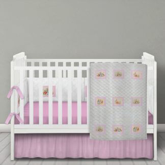 Beatrix Potter white quilted bedding set with pink squares