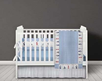 Nautical Seaside baby bedding set in blue gingham