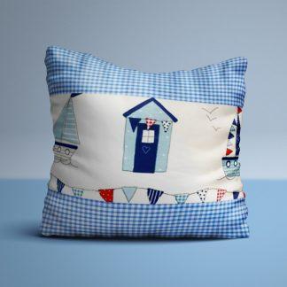 Nautical seaside cushion with blue gingham