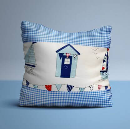 Nautical seaside cushion with blue gingham