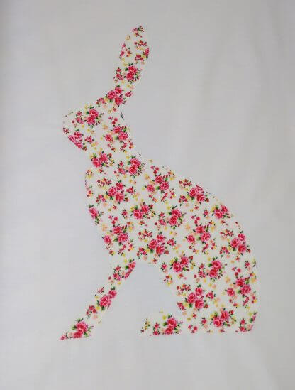 Fitted cot sheet with large floral rabbit