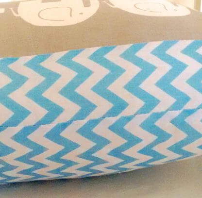 Grey elephant and blue chevron cushion