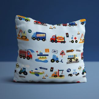 Boys traffic themed cushions in blue with cars, trucks, busses ect