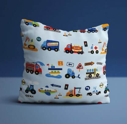 Boys traffic themed cushions in blue