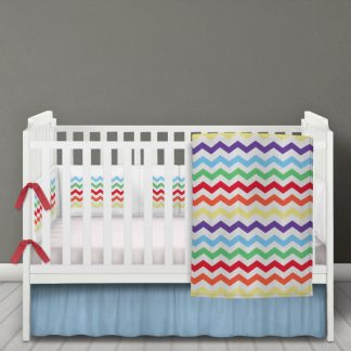 Multi coloured chevron baby bedding set