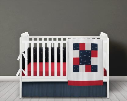 Nautical anchors baby bedding set in navy red and white