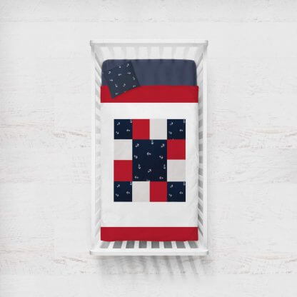 Nautical anchors baby quilt in red, navy and white