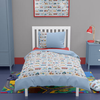 Toddler duvet cover with cars and busses and planes
