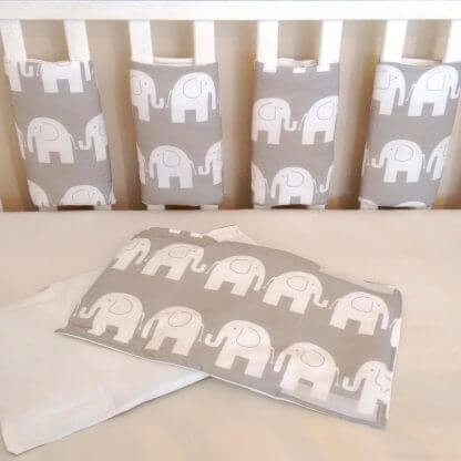 White and grey elephant cot bar bumpers