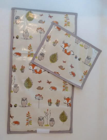 Woodland travel changing mat in grey and beige