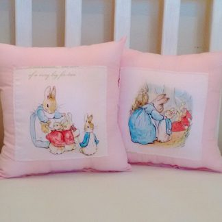 Pink Beatrix Potter cushions set of two