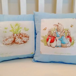 Blue Beatrix Potter cushions set of two