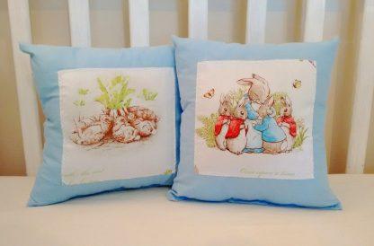 Blue Beatrix Potter cushions set of two