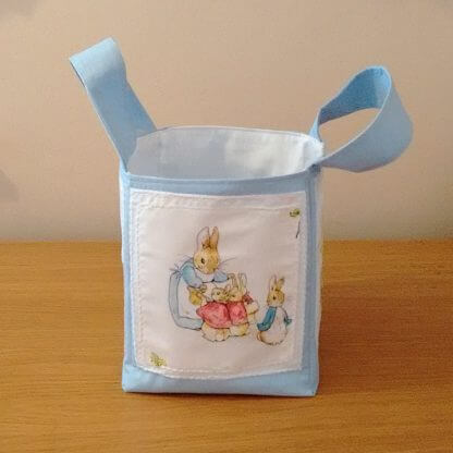 Beatrix Potter fabric storage bag in blue