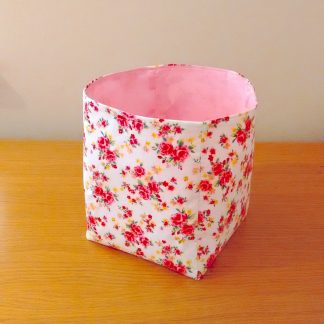 Pink Floral fabric storage box