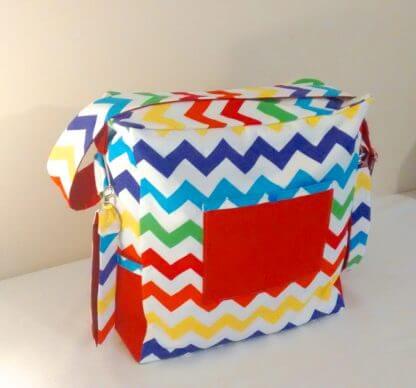 Multi coloured chevron baby nappy bag