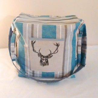 Deer themed baby nappy bag in grey and blue