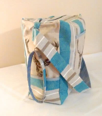 Stags head baby nappy bag in grey and blue