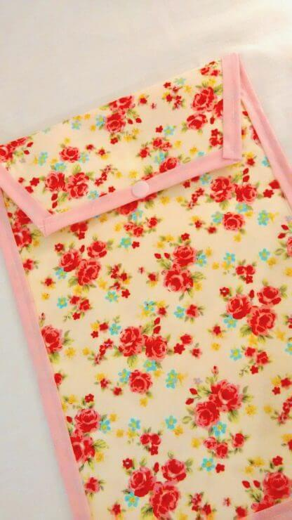 Pink roses nappy pouch
