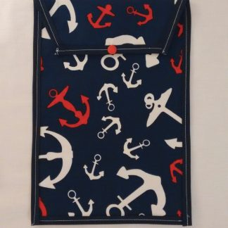 Navy nautical nappy pouch with anchors
