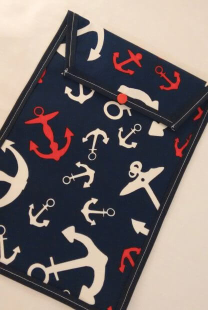 Navy nautical nappy pouch in navy
