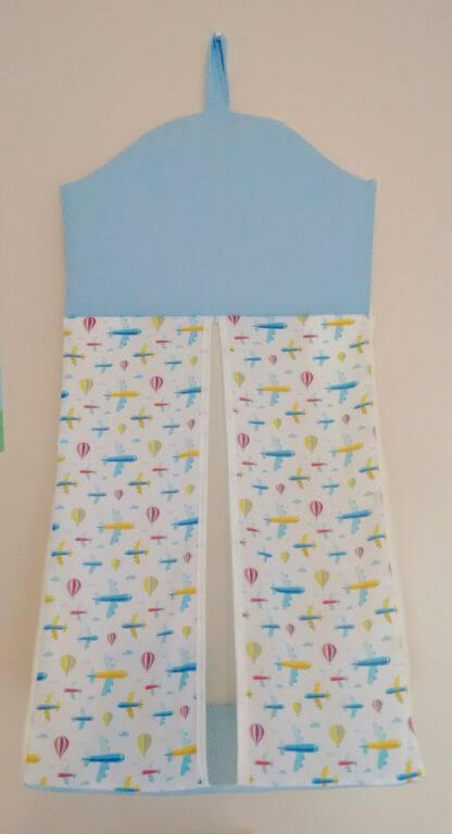 Aeroplane nappy stacker in blue and white