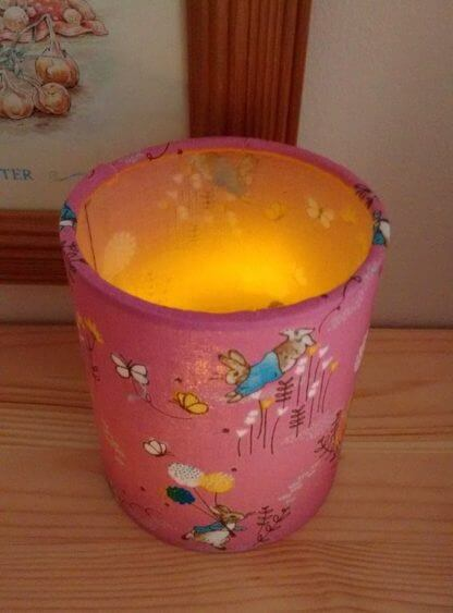 Peter rabbit tea light holder in pink