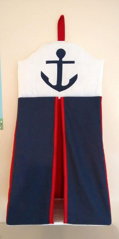 Nautical nappy stacker with navy anchor