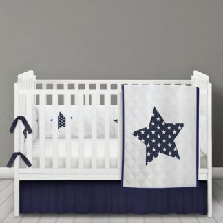 Navy star and white quilted quilt and bumper