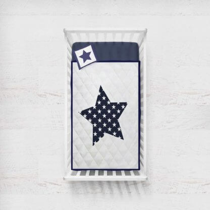 Navy star babies quilted quilt with navy trim