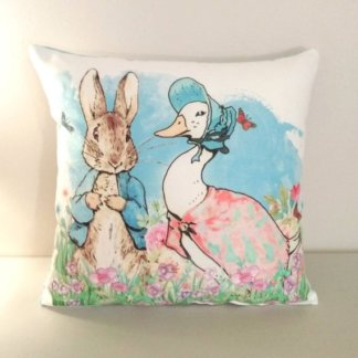 Cushion with Peter Rabbit and jemima cushion