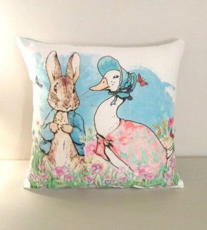 Cushion with Peter Rabbit and jemima cushion
