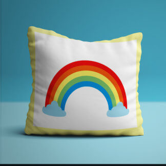 Large cushion with bright rainbow in the middle