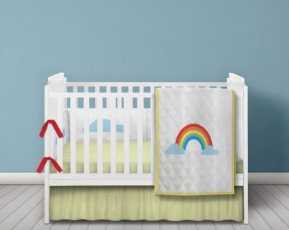 Rainbow white quilted bedding set