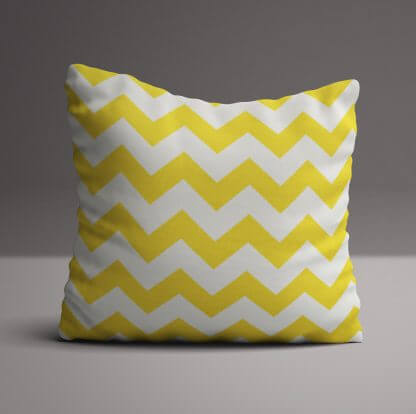 Large cushion in yellow and white chevron