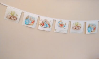 Beatrix Potter bunting in white